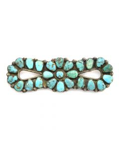 "Navajo Turquoise and Silver Pin c. 1930-40s, 1"" x 3"""