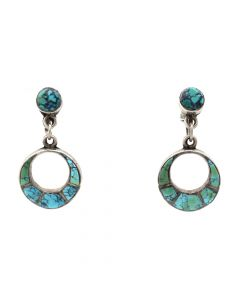"""Zuni Spiderweb Turquoise and Silver Dangle Screw-back Earrings c. 1940s, 1.375"""" x 0.625"""" (J91046-0620-005)"""