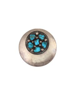 """Frank Patania, Sr. (1899-1964) and Thunderbird Shop - Turquoise Cluster and Sterling Silver Pin/Pendant c. 1950s, 2.25"""" diameter (J91046-0721-009)"""