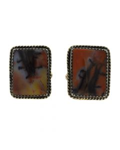 "Julius or Tom Ahasteen - Navajo Petrified Wood and Silver Cufflinks c. 1950s, 0.875"" x 0.75"""