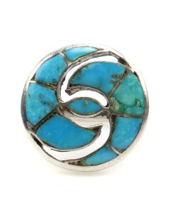 Zuni Turquoise Channel Inlay and Silver Ring with Hummingbird Design c. 1960s, size 6 (J91046-0820-002)