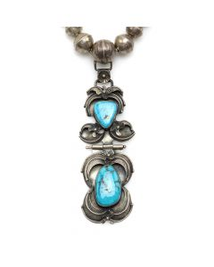 "Carl Luthy Shop - Navajo Turquoise and Silver Beaded Necklace with Floral Design c. 1960s, 18"" length (J91046-0820-005)"