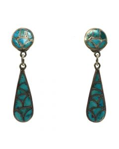 "Zuni Turquoise Channel Inlay and Silver Post Earrings c. 1960s, 2"" length (J91046-1019-004)"