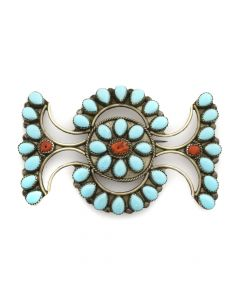 "Navajo Turquoise and Coral Pin c. 1950s, 2.5"" x 3.5"""