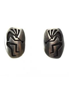 "Bernard Dawahoya - Hopi Silver Overlay Clip-on Earrings with Kokopelli Design c. 1980s, 1.125"" x 0.75"" (J91046-1219-002)"