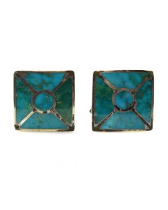 """Zuni Turquoise Channel Inlay and Silver Cufflinks c. 1960s, 0.625"""" x 0.625"""" (J91046-1219-003)"""
