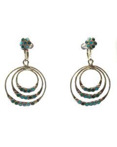 "Dishta - Zuni Turquoise Inlay and Silver Screwback Earrings c. 1950s, 1.75"" x 1"" (J91046-1219-004)"