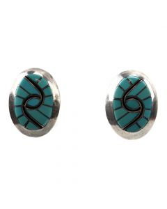 "Sandra Quandelacy - Zuni Turquoise Channel Inlay and Silver Clip-on Earrings with Hummingbird Design c. 1980s, 1.125"" x 0.875"" (J91046-1219-008)"