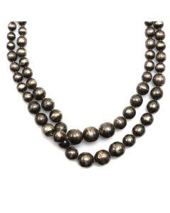 "Navajo 2-Strand Silver Beaded Necklace c. 1960s, 16"" length (J91051-0220-010)"