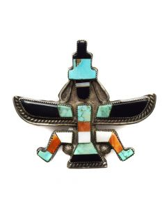 "Leo Poblano - Zuni Multi-Stone Inlay and Silver Knifewing God Pin c. 1940s, 1.75"" x 1.75"""