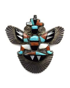 "Alonzo Hustito - Zuni Multi-Stone Inlay and Silver Knifewing God Pin/Pendant c. 1940s, 2.25"" x 2.25"""