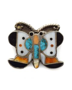 "Lambert Homer - Zuni Multi-Stone Channel Inlay and Silver Butterfly Pin c. 1930s, 1.25"" x 1.25"""
