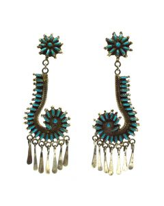 "Zuni Needlepoint Turquoise and Silver Post Earrings c. 1940s, 3"" x 1"""