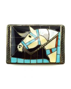 "Helen and Lincoln Zunie - Zuni Multi-stone Inlay and Silver Horse Design Belt Buckle c. 1960-70s, 2.25"" x 3.375"""