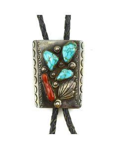 """Dan Simplicio - Zuni Turquoise, Coral, and Silver Bolo Tie c. 1950-60s, 2"""" x 1.75"""""""