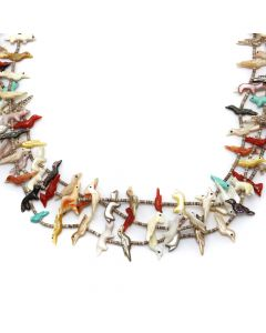 "David Tsikewa (1915-1971) - Zuni Three-Strand Multi-Stone Bird Fetish Necklace 32"" length (J91051-0720-013)"