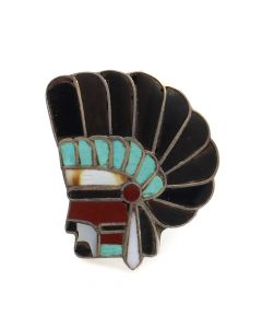 Lot 146 - Zuni Multi-Stone Channel Inlay and Silver Ring Showing a Headdress Profile c. 1960s, size 6.75 (J91051-1018-003)