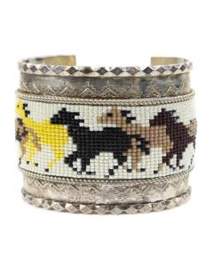 Navajo Beaded Silver Bracelet with Horse Design c. 1980s, size 7 (J91138A-0120-068)
