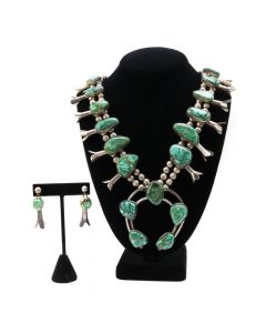 Navajo Turquoise and Silver Squash Blossom Necklace and Post Earrings Set c. 1950s (J91138A-0120-071)