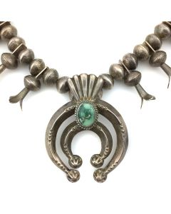 Navajo Squash Blossom Necklace with Sandcast Silver and Turquoise Naja and Liberty Dime Beads and Blossoms, c. 1950-60s (J91243B-0721-001)1