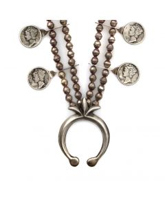"""Navajo Silver Necklace with Mercury Dimes c. 1960-70s, 24"""" length (J91243B-0721-004) 1"""