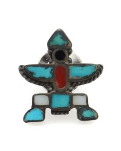 "Zuni Multi-Stone Channel Inlay and Silver Knifewing God Tie Tack c. 1950s, 0.75"" x 0.75"" (J91244B-1120-007)"