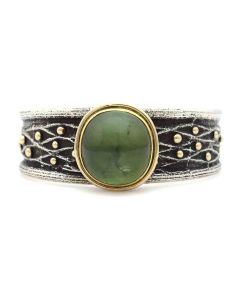 Frank Patania Jr. - Contemporary Green Tourmaline, 14K Gold, and Sterling Silver Sandcast Bracelet, size 6.75 (J91300C-1120-001)
