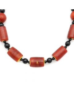 """Miramontes - Carneline D'Aleppo Tubes c. 1830 with Onyx and Silver Beads, 16.5"""" length (J91305-016-004)"""