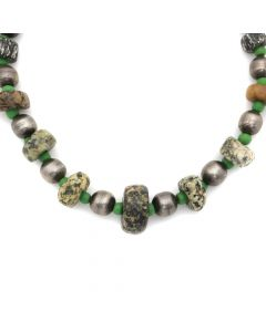 "Miramontes - Old Granite Stones (African- Mali) with Green Rondelles and Old Style Large Silver Beads, 18"" length (J91305-016-019)"