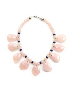 "Miramontes - Rose Quartz Necklace with Lapis Rondells, 16"" length"