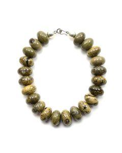 "Miramontes - Oversized Artistic Jasper Rondells Choker Necklace, 19"" length"