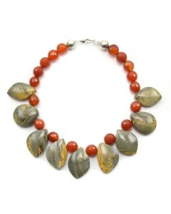 "Miramontes - Faceted Carnelian Necklace with Multi-Colored Picasso Jasper Pendants, 16"" length"