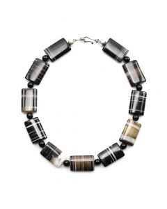 "Miramontes - Striated Black Onyx Agate Necklace with Onyx Beads, 18"" length"