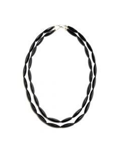 "Miramontes - Nested Set of Two Uniquely Faceted Onyx Beaded Necklaces, 32"" and 35"" lengths"