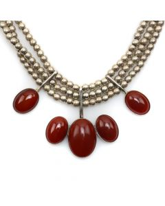 "Miramontes - Carnelian and 3-Strand Silver Beaded Necklace, 17"" length (J91305-1114-004A)"