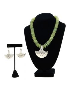 Miramontes - Light Green Jade Rondelle Necklace with Silver Pectoral Fan Pendant and Earrings Set (J91305-0511-002)