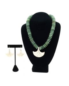 Miramontes - Dark Green Jade Rondelle Necklace with Silver Pectoral Fan Pendant and Earrings Set (J91305-0511-003)