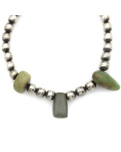 "Miramontes - Old Style Necklace with Three (2000-4000 BCE) Amazonite Stones from Senegal, 16"" length (J91305-0511-007)"