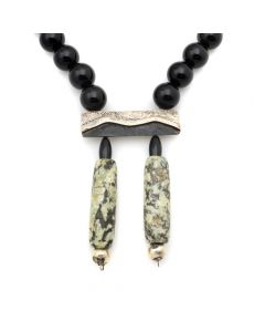 "Miramontes - Necklace of Large Onyx Beads and Silver Bar with Overlay Mountains and Two African Ancient Granite Tubes as Pendants, 18"" length (J91305-0511-010)"