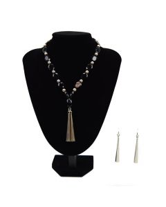 Miramontes - Onyx Oval Faceted Lentil Beads with Two Bolo Pendants Necklace and Earrings Set (J91305-0511-011)