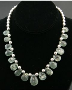 Miramontes Moss Aquamarine Necklace with Silver Beads
