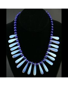 SOLD Miramontes Necklace of Lapis Beads with 20 Long Chalcedony Heated Beads