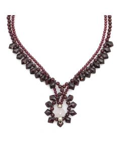 "Miramontes - Pair of Garnet Necklaces with a Single Rose Quartz, 18"" length (J91305-0511-057)"