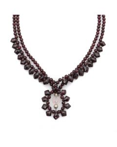 "Miramontes - Pair of Garnet Necklaces with a Single Rose Quartz, 17"" length (J91305-0511-058)"