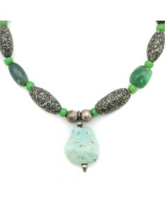 "Miramontes - Ancient Granite Bead Necklace with Turquoise Pendant, 16"" length (J91305-053-010)"