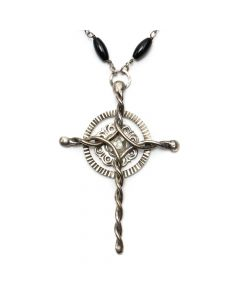 """Miramontes Onyx and Silver Twisted Wire Cross Necklace, 36"""" length (J91305-053-022)"""