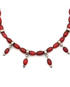 "Miramontes - Samburu Beaded and Silver Necklace with Carnelian Bead Spacers, 16"" length (J91305-056-020)"