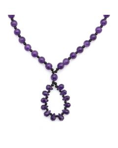 "Miramontes - Amethyst Beaded Necklace with Onyx Spacers, 15.5"" length (J91305-056-040)"