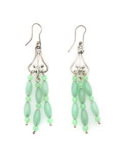 Miramontes - Aventurine Bead and Silver French Hook Earrings (J91305-056-062)