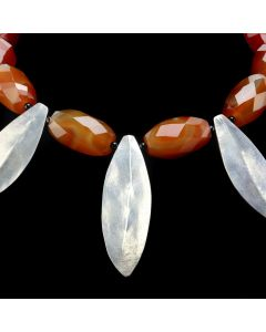 "Miramontes Necklace with Large, Faceted, Tubular Carnelian Beads and Three Large Silver Laurel Leaf Pendants, 18"" length (J91305-0920-003)"